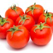 Red tomatoes isolated on a white background - Stock Photo