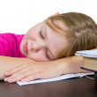 The girl has fallen asleep over textbooks — Stock Photo