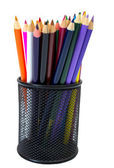 Close-up of colored pencils in Pencil box — Stock Photo