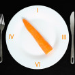 Стоковое фото: Carrot in white plate on black background
