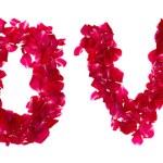 różowe płatki róż, tworząc list miłość na białym tle — Zdjęcie stockowe