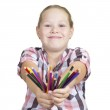 Girl with colored pencils on white background — Stock Photo #6173546