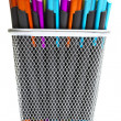 Multi-colored ballpoint pens in pencil holders — Stock fotografie