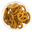 Salted pretzels in glass bowl isolated — Stok fotoğraf