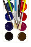 Brushes and watercolors on white — Stock Photo