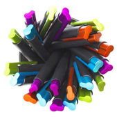 Multi-colored ballpoint pens in pencil holders — Stock Photo