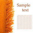 Orange plaid wool over white (with sample text) — Photo