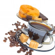 Italian espresso donut, brown sugar and coffee beans on white b — Stock Photo #6279275