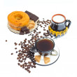 Italian espresso donut, brown sugar and coffee beans on white b — Stock Photo #6279291