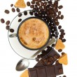 Cappuccino, brown sugar and coffee beans on white background — 图库照片