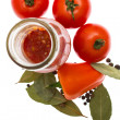 Red tomatoes, pepper, bay leaf, ketchup — Stock Photo