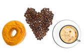 Cappuccino, donut, brown sugar and coffee beans on white backgro — Stock Photo