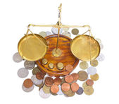 Scales and coins — Stock Photo