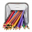 Color pencils in pencil holders - ストック写真