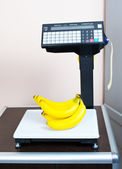 Fresh bananas on the scales in the store — Stock Photo