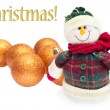Happy snowman with balls, christmas card — Stock Photo