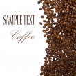 Coffee beans with sample text - Stok fotoğraf