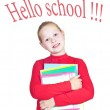 Child with a stack of notebooks — Stock Photo #6581887