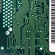 Green circuit board with components. — Stock Photo