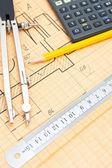 Mechanical circuit, a ruler, compass, calipers — Stock Photo