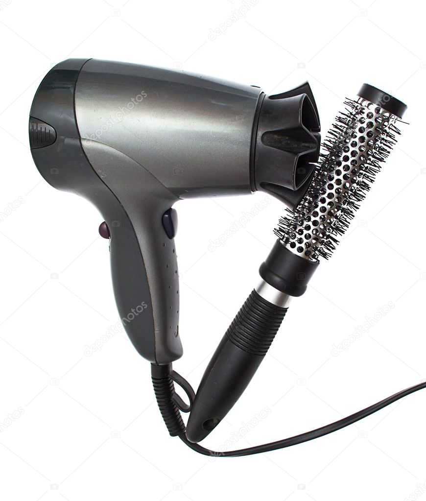 Hair dryer and brush isolated on white  Stock Photo #6741389