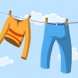 Clothes drying — Stock Vector