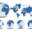 Vector de stock : World map with Earth globes in white background