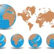 Royalty-Free Stock Vector Image: World map with Earth globes in white background