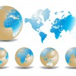 World map with Earth globes in white background — Stock Vector #5803564