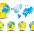 World map with Earth globes in white background — Stock Vector #5803570