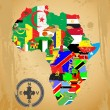 Outline maps of the countries in African continent - Stock Vector