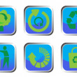 Recycle button set — Stockvectorbeeld