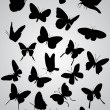 Stock Vector: Butterfly silhouettes