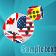 Casino dice with different flags — Imagen vectorial