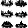 City Skylines in grunge background — Stok Vektör