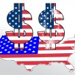 Dollar sign with USA flag and map — Stock Vector