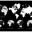 World map with Earth globes — Stockvector #5803771