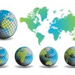 World map with Earth globes in white background - Imagen vectorial
