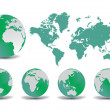 World map with Earth globes in white background — Stock Vector