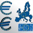 Vector de stock : Euro sign with EuropeUnion flag and map