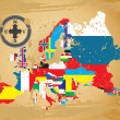 Vector de stock : Outline maps of the countries in European continent