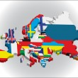 Outline maps of the countries in European continent - Imagen vectorial