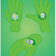 Human hand with recycle symbols — Stock Vector #5803837