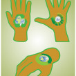 Human hand with recycle symbols — Stockvectorbeeld