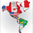 Outline maps of the countries in North and South America continent - Stock Vector