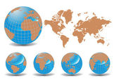 World map with Earth globes in white background — Vetorial Stock