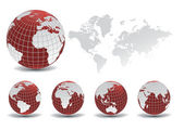 World map with Earth globes in white background — Stock vektor