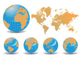 World map with Earth globes in white background — Stok Vektör