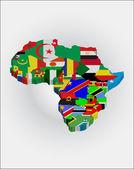 Cartes de contour des pays dans le continent africain — Vecteur