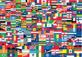 Komplett uppsättning flaggor av världen — Stockvektor